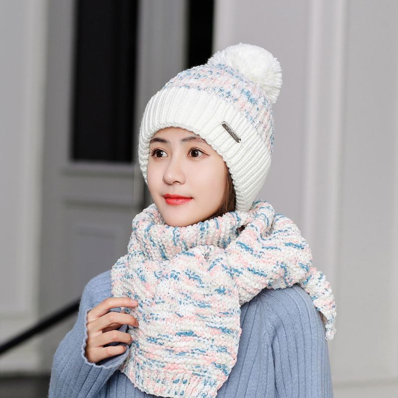 Womens Winter Warm Chunky Knitted Plush Lined Pompom Beanie Hat Long Scarf Set