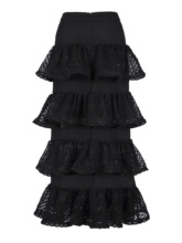 Rosetic Women Skirt Summer Gothic Mesh Layered Hem Ruffle Mid Calf Elegant Female Black 2020 Cute Cupcake High Waist Skirts