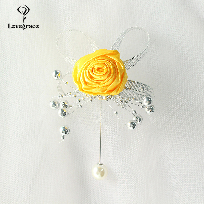Lovegrace Artificial Rose Silk Bridesmaid Brooch Wedding Corsages And Boutonnieres Groomsman Buttonhole Mariage Accessories