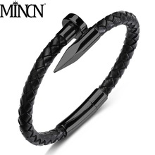MINCN nail bracelet titanium steel leather rope stainless mens woven handmade