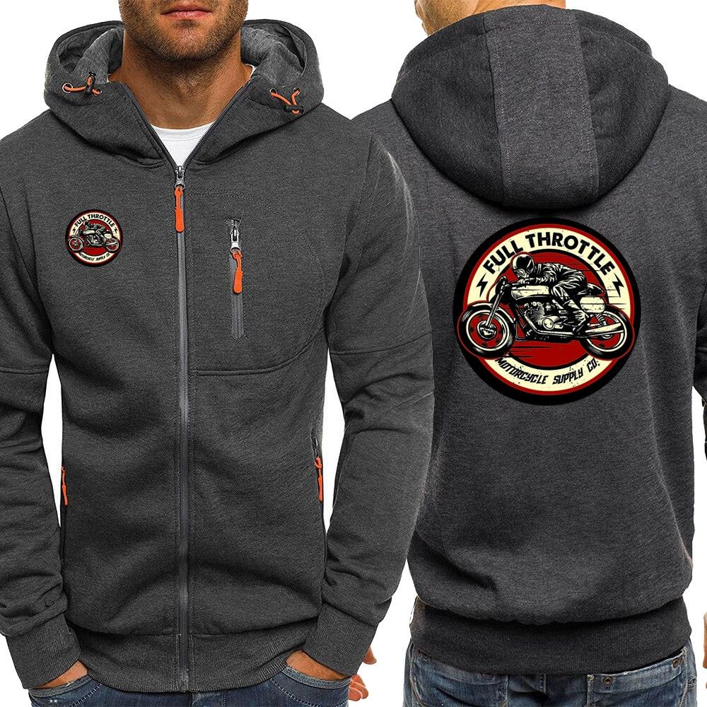 Mens Hoodie Full Throttle Cafe Racer Rockabilly Biker Streetwear New Autumn Fashion Jackets Zipper Casual Sweatshirts Hooded