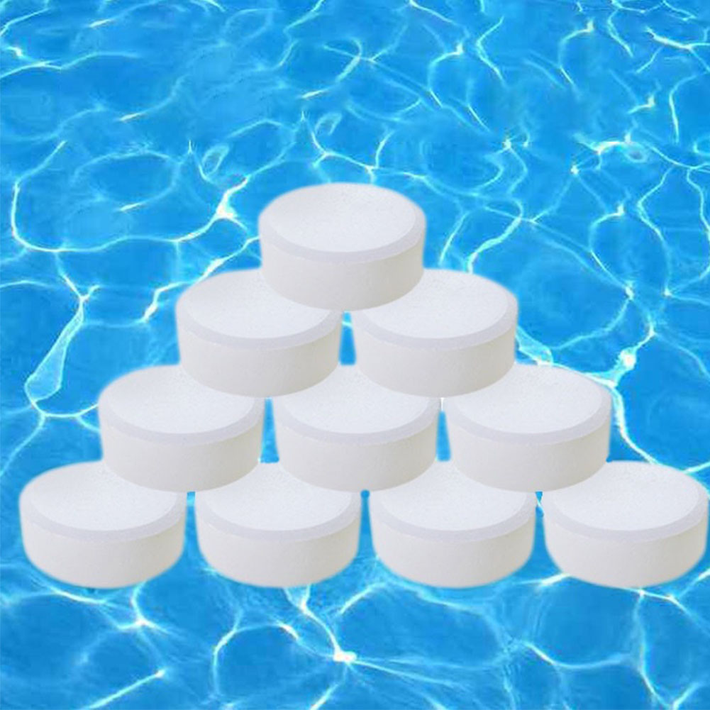 50PCS Clarifier Tub Spa Chlorine Tablets Disinfectant Algaecide Swimming Pool Water Cleaning Non Toxic Effervescent Outdoor