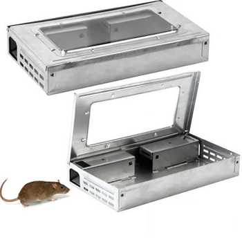 HOT SALE Household Warehouse Tin Cat Style LIVE Mouse Traps with Window Multi Catch Mice Mouse Traps Sale cheap