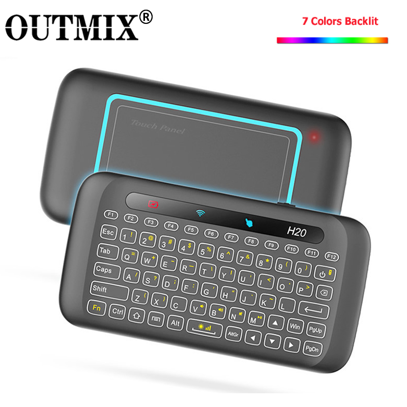 H20 Mini Wireless Keyboard Backlight Touchpad Air Mouse IR Leaning Remote Control For Andorid Box Smart TV Windows PK H18 Plus