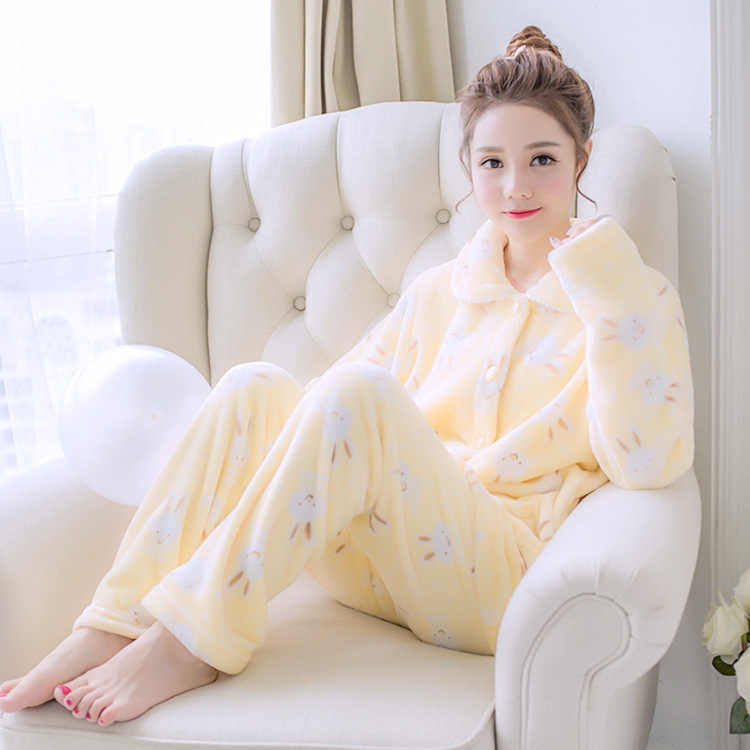 Mulheres inverno Manter Aquecido Flanela Pijamas Pijama Terno Conjunto Bonito Dos Desenhos Animados 2pcs Sleepwear Confortável Ocasional Macio Sleepwear Homewear