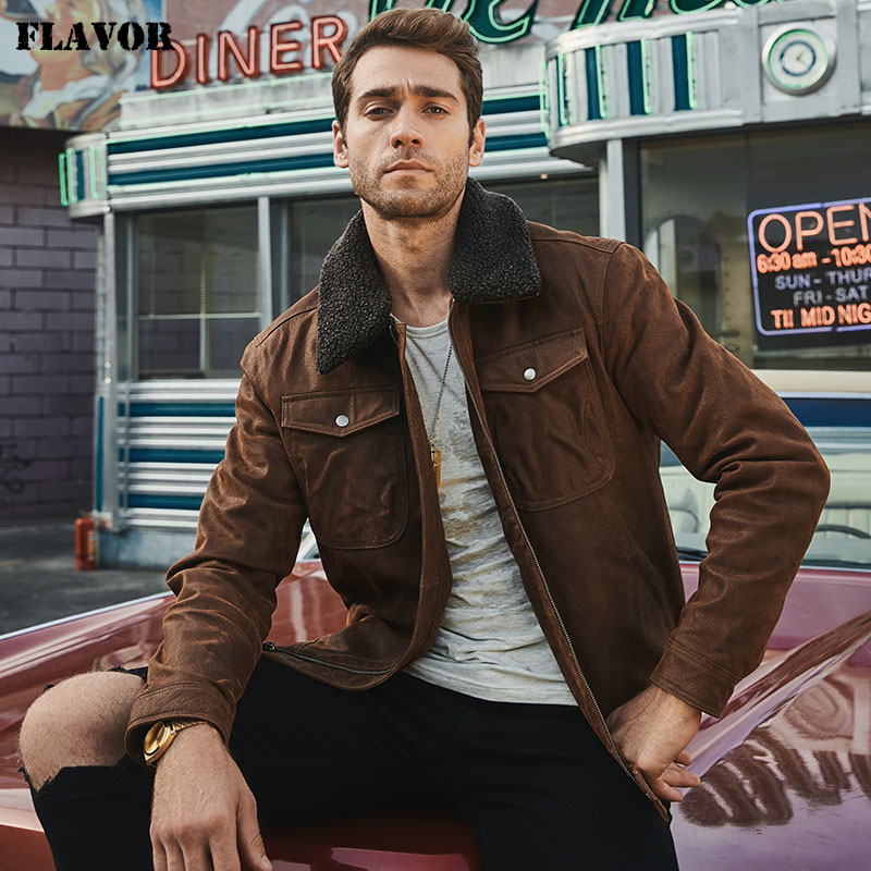 FLAVOR Men s Real Leather Jacket Genuine Leather jacket with faux fur collar male Motorcycle warm FLAVOR Men's Real Leather Jacket Genuine Leather jacket with faux fur collar male Motorcycle warm coat Genuine Leather Jacket
