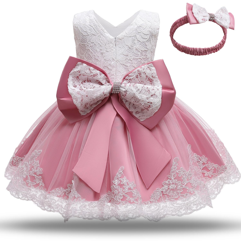 Robe de baptême blanche pour petites filles, tenue de princesse pour nouveau-né, vêtements d'anniversaire, motif floral, robe de bal pour enfants, 12 24M