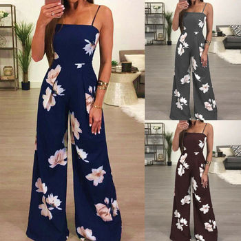 New Womens Summer Playsuit Romper Jumpsuit Ladies Sleeveless Casual Floral Print Sleeveless Fashion Jumpsuit 2019 Hot Plus Size 4