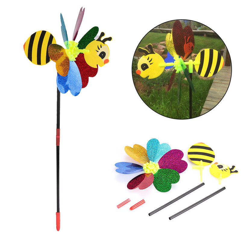 Bee Windmill Cute Colorful 3D Insect Pinwheel Wind Spinner Whirligig Plastic Toys Yard Garden Decor Outdoor Lawn Decor