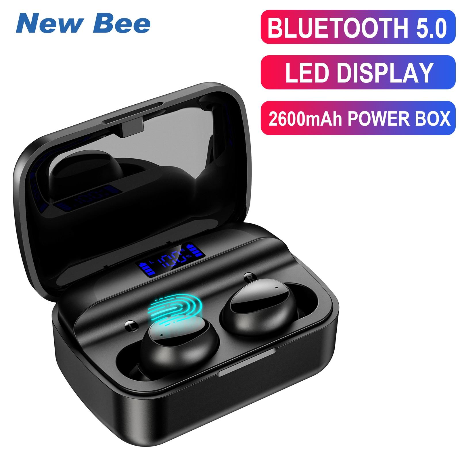 TWS-Наушники New Bee с поддержкой Bluetooth 5,0 и микрофоном, 2600 мА · ч
