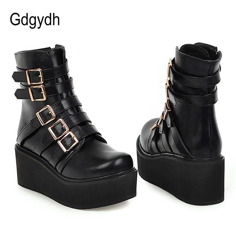 Gdgydh Drop Ship Platform Wiggen Hak Enkellaars Voor Vrouwen Mode Gesp Gothic Punk Lederen Combat Laarzen Vrouw Big Size 46