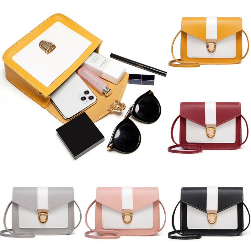 Simple Patchwork PU Leather Crossbody Bags For Women 2020 Small Flaps Handbags Ladies Shoulder Messenger Bag Handbags Exquisite