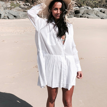 Пляжное платье Saida de Praia, хлопковое пляжное платье кафтан, Пляжное парео, кружевное бикини, накидка, купальник, накидка # Q662