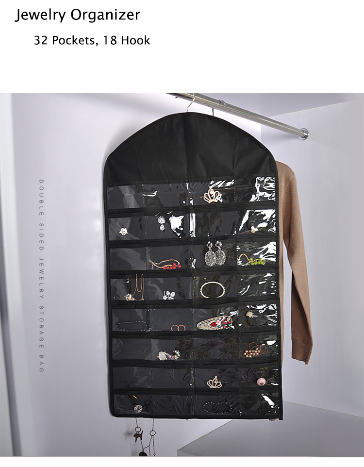 46x81cm Jewelry Hanging Storage Necklace Bracelet Earring Pouch Organizer Display BagJewelry Hanging Bag Storage Ear Ring Chain
