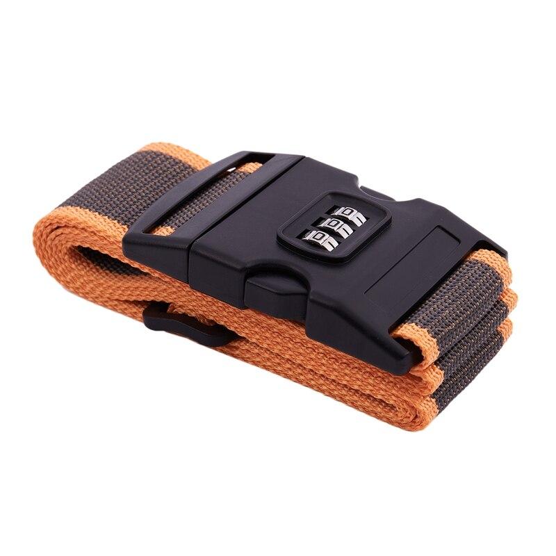 NEW-Safety Belt Belt Lock Combination Travel Luggage Suitcase Band Color:Orange + Grey