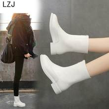 LZJHOT Spring And Autumn New Fashion Boots Wedges Round Head European American Women Shoes White Boots Leather Boots Snow Boots(China)
