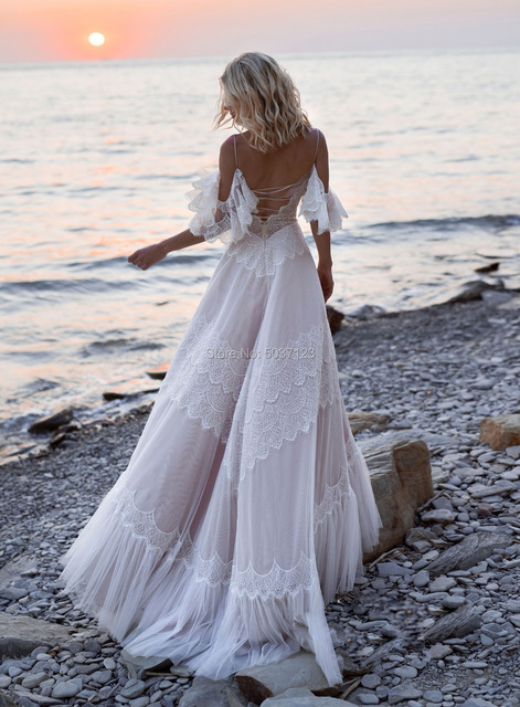 2021 Bohemian Wedding Dresses Tempting Nude Champagne V Neck Chic Sleeves Straps Ruffles Lace A Line Backless Bridal Gowns 2