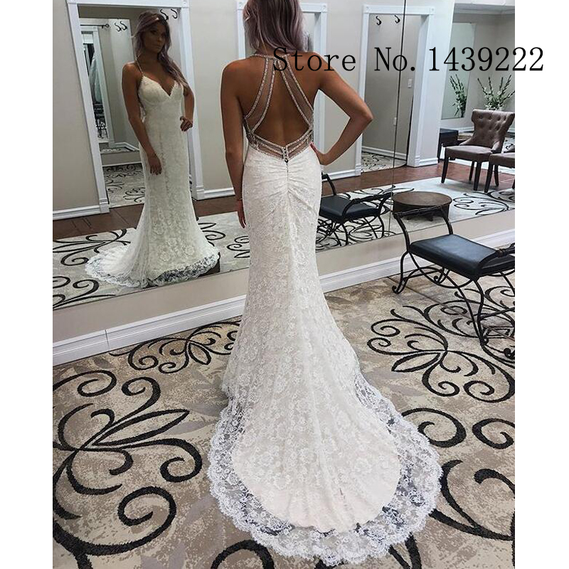 Cheap Lace Weddding Dresses Mermaid Appliques Illusion Bodice Bridal Gown Sofuge Beads Formal Wedding Gown Custom Made