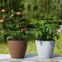 4PCS Self absorbent Flower Pot Melamine Cement Retro Nordic Basin Set For Green Plant Green Rose Succulent