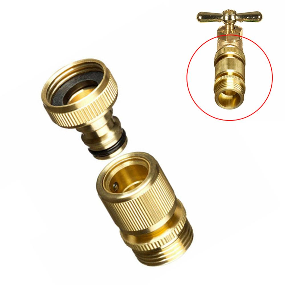 1Set Garden Hose Quick Connector 3//4 Inches GHT Brass Easy Connect Fitting
