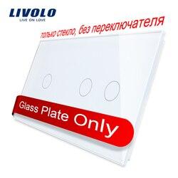 Livolo luxo 7 cores de vidro de cristal pérola, 151mm * 80mm, vidro apenas padrão da ue, painel de vidro duplo, C7-C1/C2-11, apenas painel, nenhum logotipo