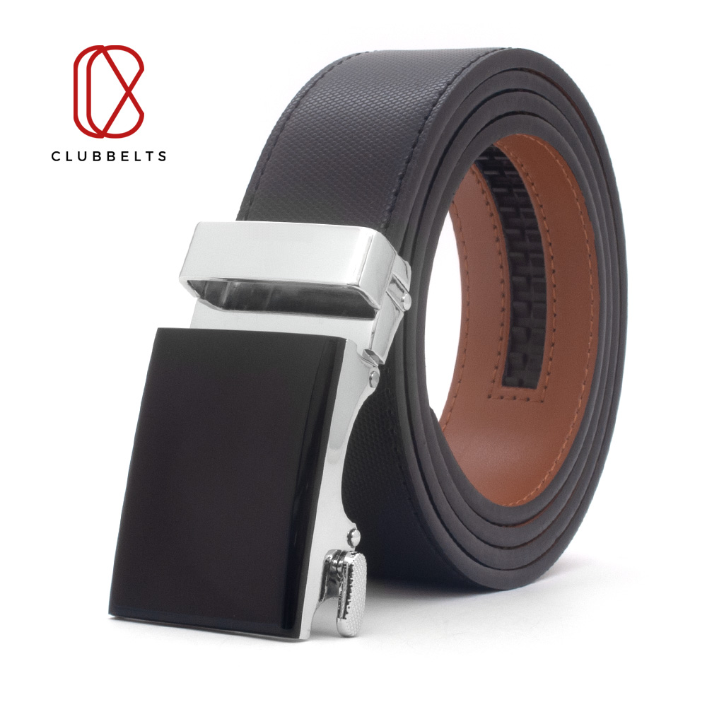 Clubbelts Men's Leather Ratchet Belt With Onyx Automatic Buckle Genuine Leather Belts For Men