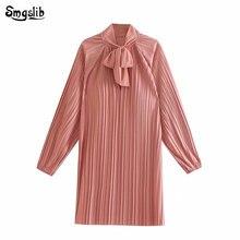 2019 Autumn england elegant pink color pleated bow mini dress women vestidos straight party