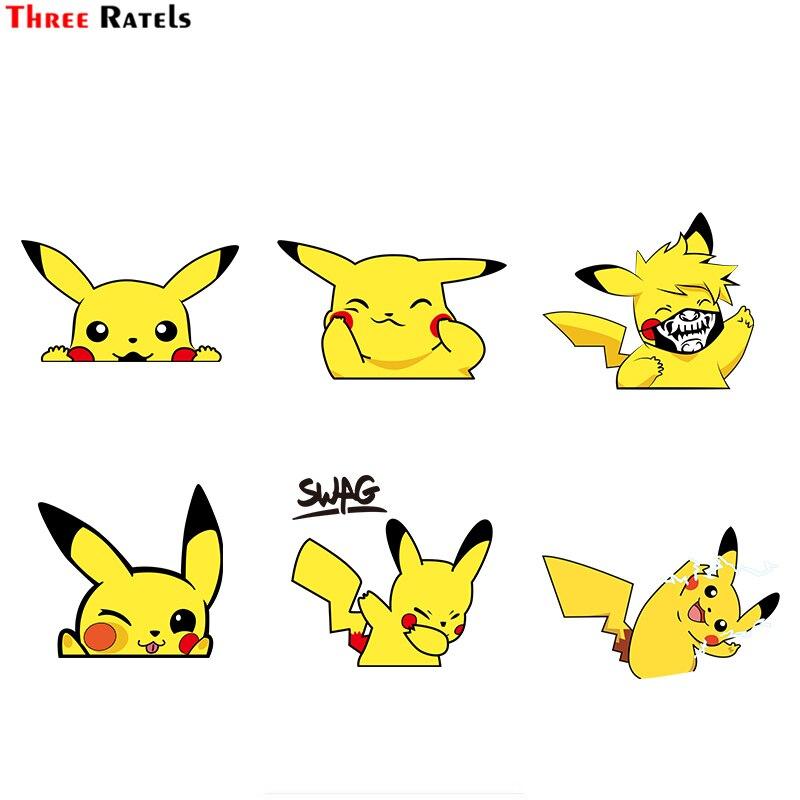 Three Ratels Kawaii Cartoon Pikachu Peeping Creative Window Wall Auto Decal Cartoon Car Bumper Body Decal Creative Pattern Vinyl