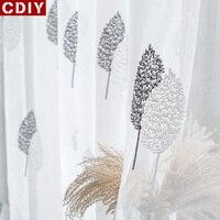 Cdiy 刺繍リビングルーム現代葉ボイルベッド刺繍カーテン生地ウィンドウドレープ