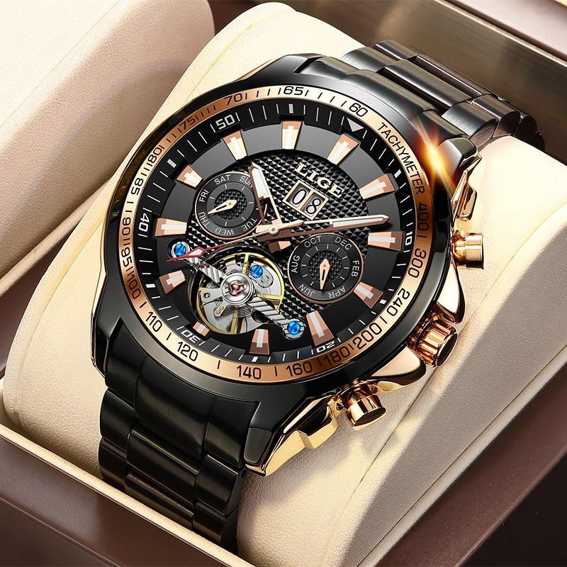 LIGE Sapphire Glass Automatic Watch Men Top Brand Luxury Full Steel Sport Mechanical Watch Fashion 100M Waterproof Men Watches 1