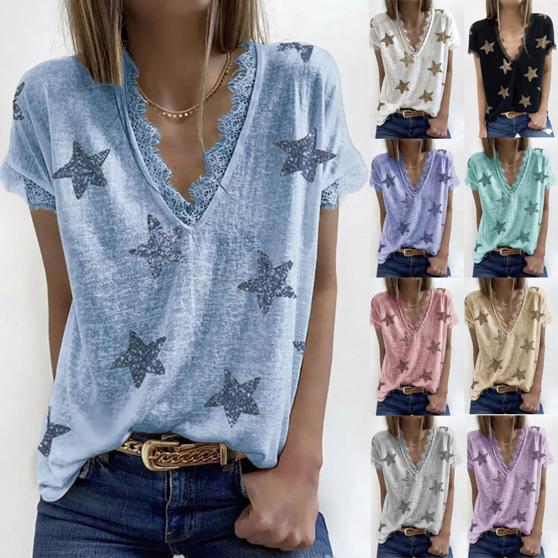 Summer V-neck Print Lace T-Shirt Women Casual Loose Top Ladies Short Sleeve Basic Tees Camiseta De Mujer Female Clothing