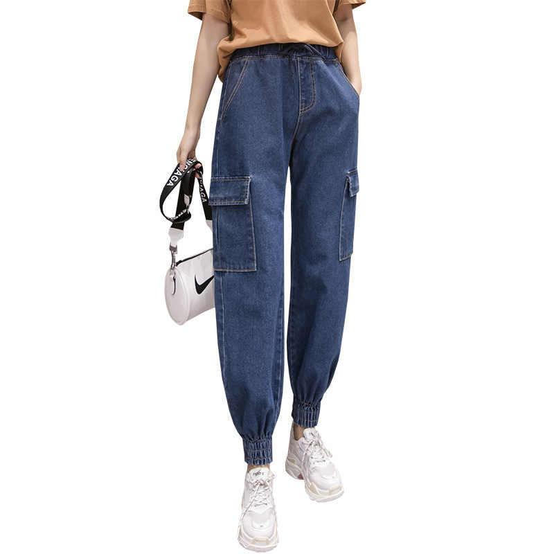 2020 błękit wiosny wysokiej talii dżinsy cargo Plus rozmiar wiązki spodnie długie Streetwear elastyczna talia chłopak workowate dżinsy spodnie
