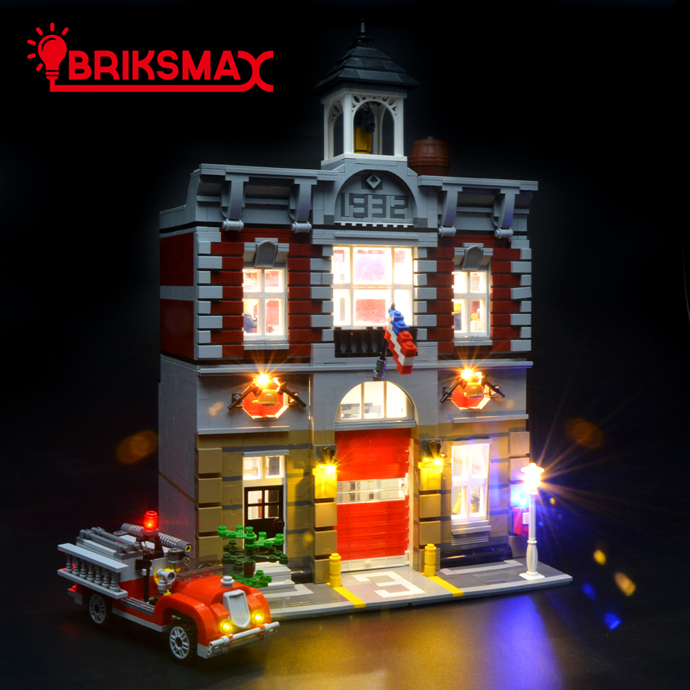 BriksMax Led Lighting Kit For Creator Series Fire Brigade Station Building Block Model Lighting Set Compatible With <font><b>10197</b></font> image