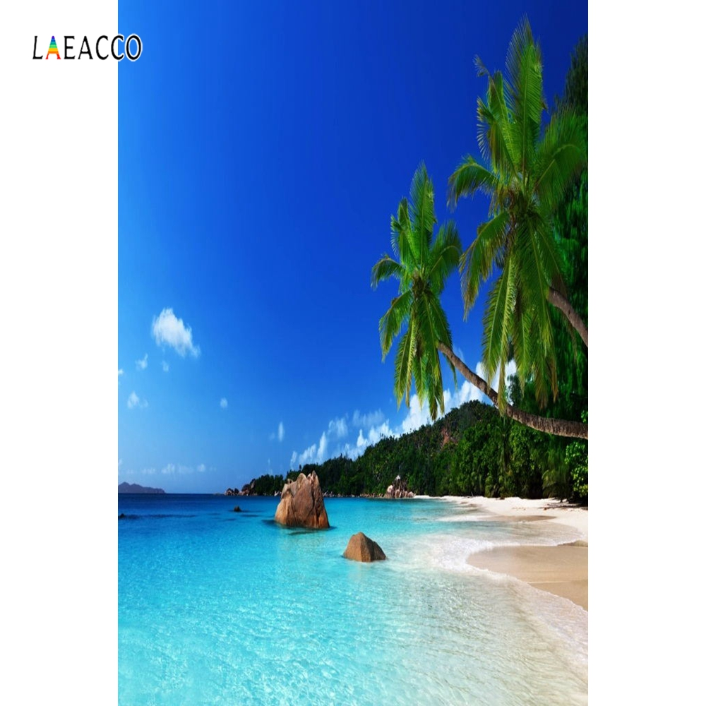 Laeacco Holiday Party Blue Sky Seaside Beach Palm Tree Photography Backgrounds Customize Photographic Backdrops For Photo Studio