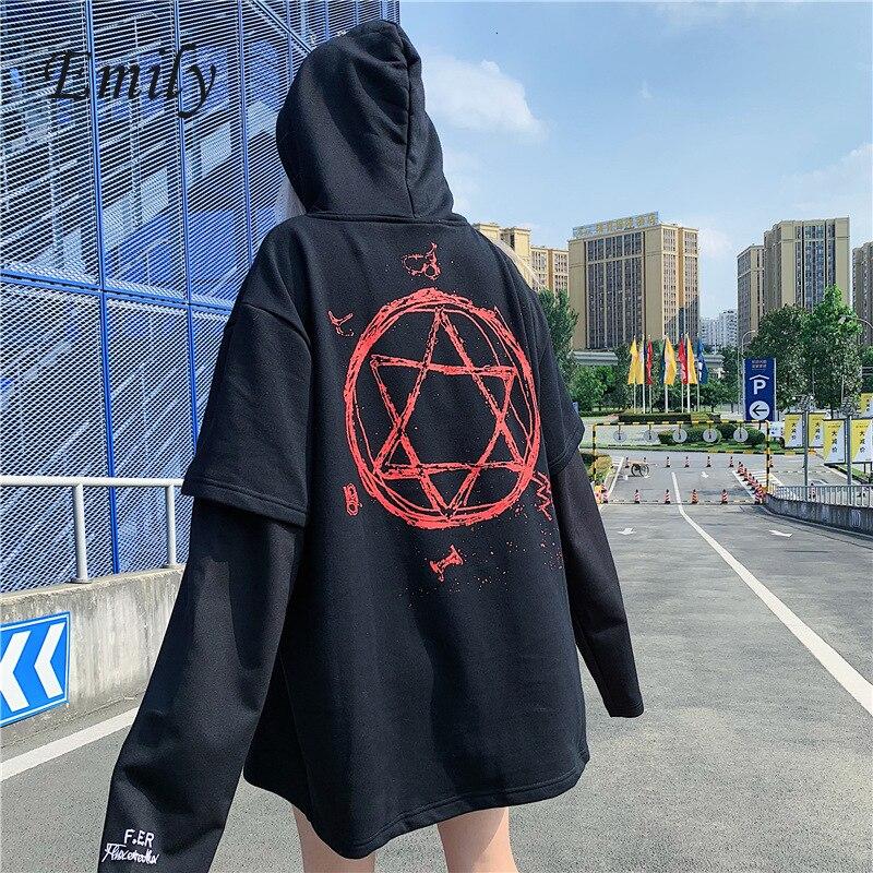 Plus Size Kpop Hoodies Sweatshirt Women Letter Streetwear Oversized Harry Styles Hoodie Magic Fake Two Pieces Gothic Autumn 2019