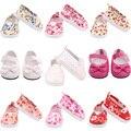 Красивая кукольная обувь 15 цветов Длина 7,5 см для кукол 18 дюймов и новорожденных 43 см, изделия нашего поколения для новорожденных