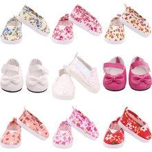 15 cor floral adorável boneca sapatos 7.5 cm de comprimento para 18 Polegada menina boneca & bebê recém-nascido 43 cm, nossa geração, novos artigos do bebê nascido