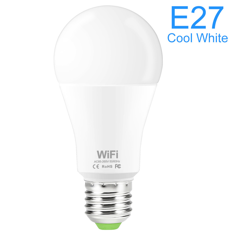 110V 220V 15W Smart WiFi Light Bulb Brightness Dimmable By Phone  No Hub Required Works With Alexa & Google E27 Base E26