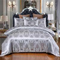 Weiß Farbe Bettwäsche Satin Seide Luxus Quilt Abdeckung Sets Jacquard ropa de cama König Größe Bettwäsche Set Luxus Königin bett Set