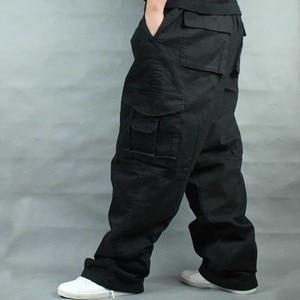 Image 1 - Брюки мужские с широкими штанинами в стиле хип хоп, повседневные хлопковые брюки карго, Свободные мешковатые штаны, уличная одежда, мужские джоггеры