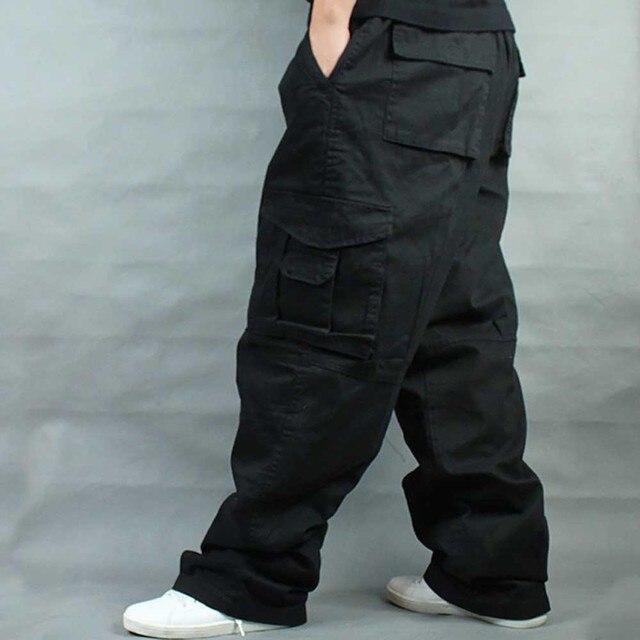 Брюки мужские с широкими штанинами в стиле хип хоп, повседневные хлопковые брюки карго, Свободные мешковатые штаны, уличная одежда, мужские джоггеры