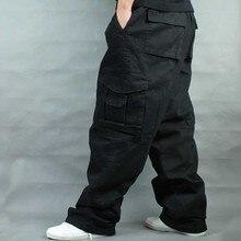 Perna larga hip hop calças masculinas casuais algodão harem carga calças largas calças largas streetwear plus size joggers roupas masculinas