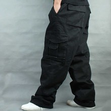 Wide Leg Hip Hop Pants Men Casual Cotton Harem Cargo