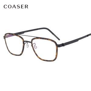 Image 1 - Gafas de titanio para hombre, lentes con montura de marca de Dinamarca, diseño Vintage, redondas, graduadas, para miopía, de metal
