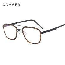Nowi mężczyźni okulary tytanowa ramka do okularów dania marka Design Vintage okrągłe okulary optyczne krótkowzroczność okulary metalowe