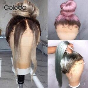 COLODO Ombre парик с фронтальной шнуровкой предварительно выщипанный бразильский Remy прямой ледяной блонд парик из человеческих волос без клея п...