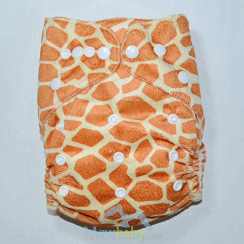 PUL Waterproof Animal Skin Minky Printed Baby Cloth Diaper With 1pc 3-layer Microfiber Insert FR50