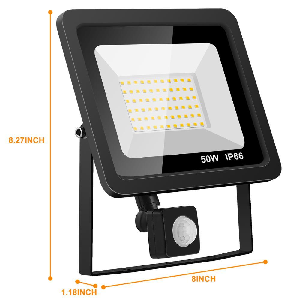 lowest price  LTOON 10W 20W 30W 50W 100W Led Flood Light With Adjustable PIR Sensor SMD 2835 Floodlights Outdoor Lighting For Street Square