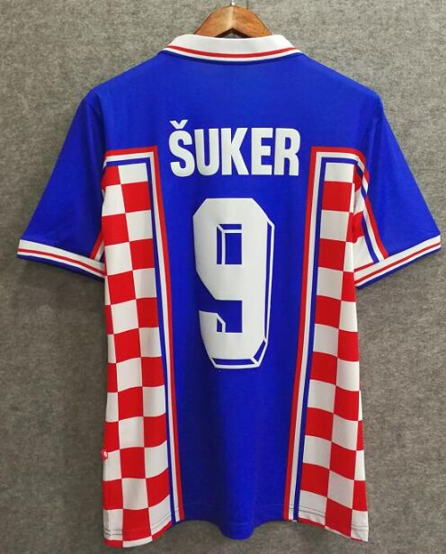 Can Post to Croatia! Camisetas Croatie 1998 Jerseys 98 Suker Home Away Croatian Shirts Free Shipping