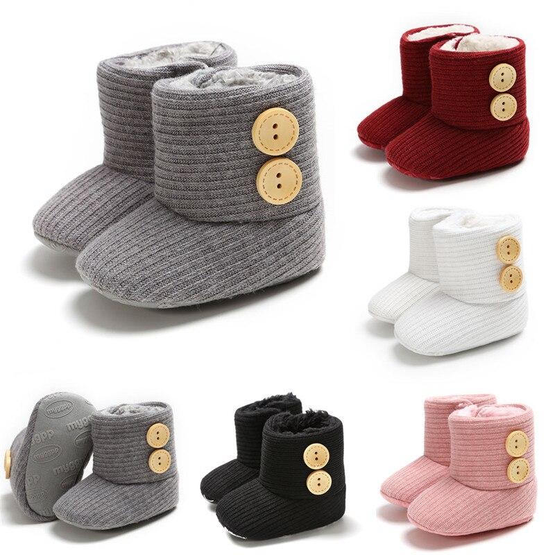 2019 Baby Girls Soft Sole Crib Button Cotton Flats Warm Boot Toddler Prewalke Shoes
